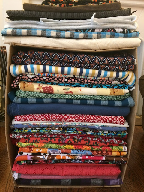 Fabric stash - it all fits in a little over 3 cubic feet!