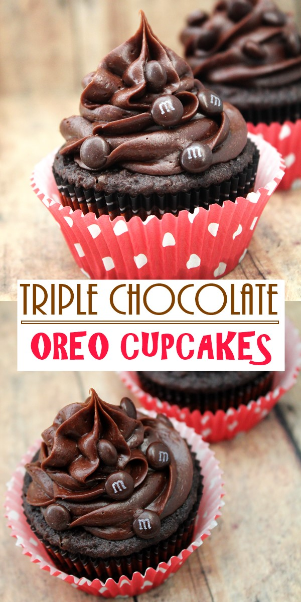 TRIPLE CHOCOLATE OREO CUPCAKES #cupcakerecipes