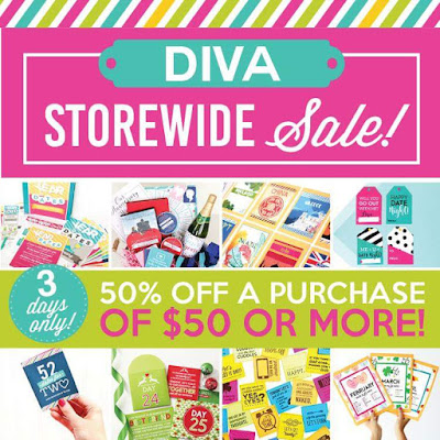 For THREE DAYS ONLY the entire Divas Store is 50% off a purchase of $50 or more.