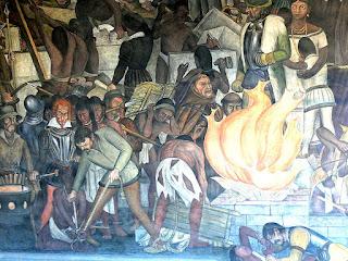 Auto de fe de Maní representando la quema de escritos mayas. Pintura de Diego Rivera.