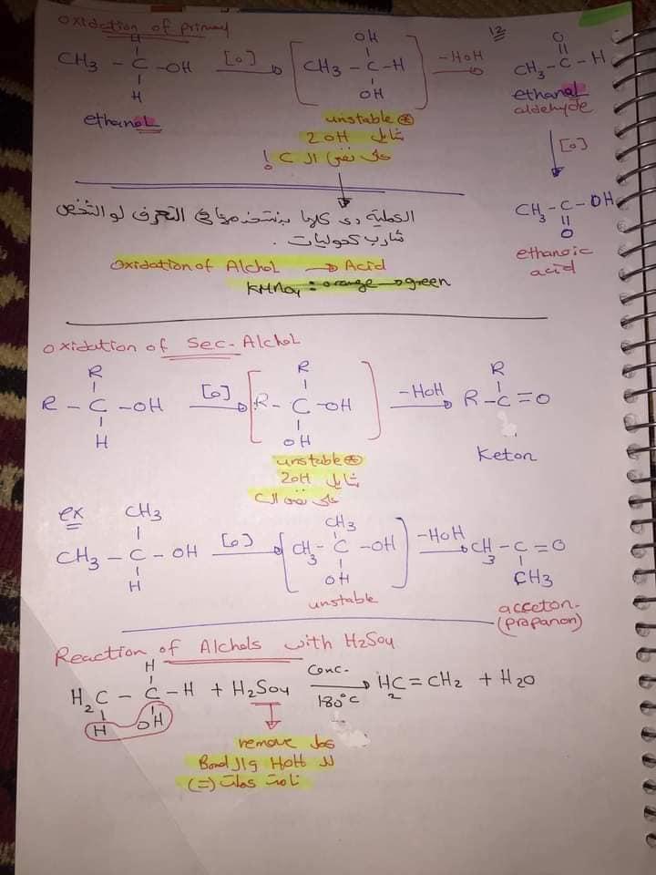 ملخص organic chemistry للثانوية العامة لغات 12