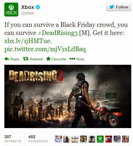 XBox Dead Rising 3 Black Friday tweet