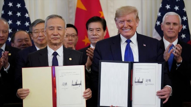 EEUU y China firman acuerdo poniendo fin a guerra comercial