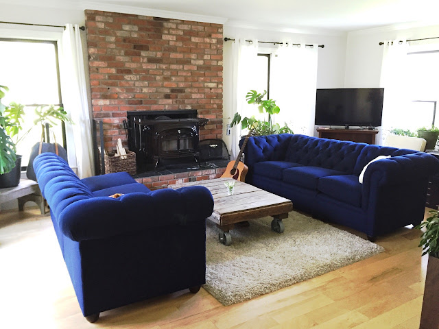 royal blue tufted sofa sectional pottery barn farm house living room decor reclaimed pallet coffee table with industrial casters wood burning stove house plants natural light little flower soap co