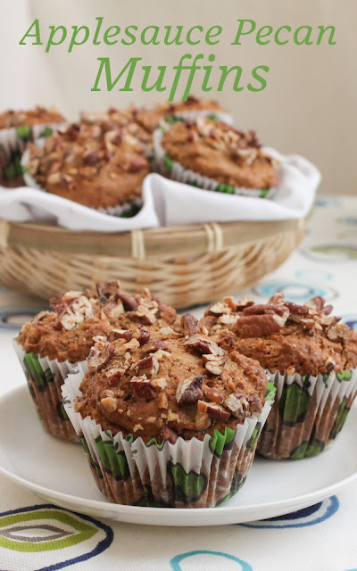 Food Lust People Love: Made with thick homemade applesauce, these country applesauce pecan muffins are rich with the flavors of brown sugar and cinnamon. They are a great breakfast muffin or afternoon snack. #MuffinMonday