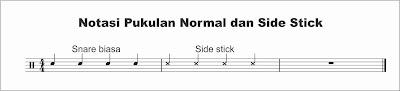 contoh notasi snare normal dan sidestick pada not balok