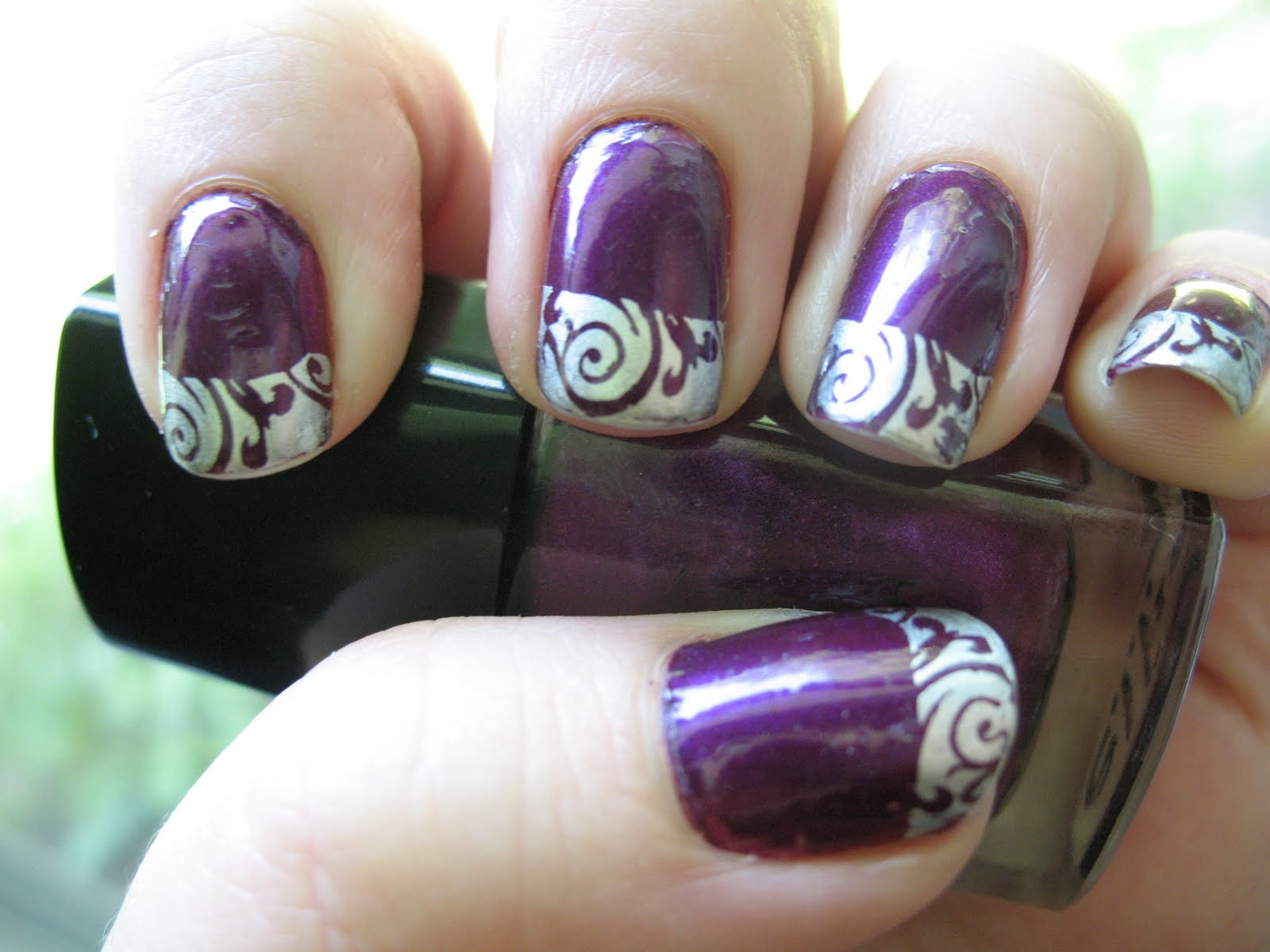 Moondancerjen's Nails: Purple Nails with Silver Stamped Tips
