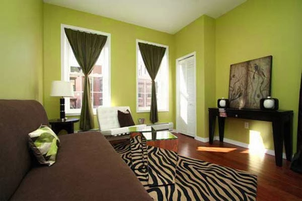 Salas en verde y marr n salas con estilo - Cortinas marron chocolate ...