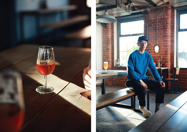 northern monk brewery tap room in leeds, blue gant wool jumper