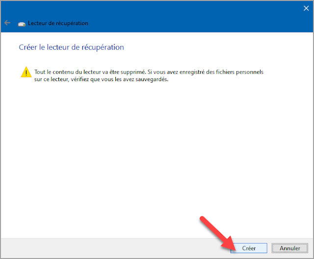 Créer, lecteur de récupération, réparation, réinstaller Windows, clé USB, clé de démarrage Windows, Windows 10, Windows ne démarre plus, problème, recoverydrive.exe, trucs et astuces.