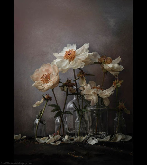 Flowers in bottles. (Photo by IMAGE COPYRIGHTSUE OAKFORD):