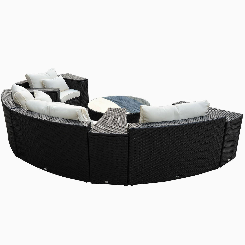 discount outdoor sofa set black microfiber sleeper 57 outsunny 9pc patio rattan wicker