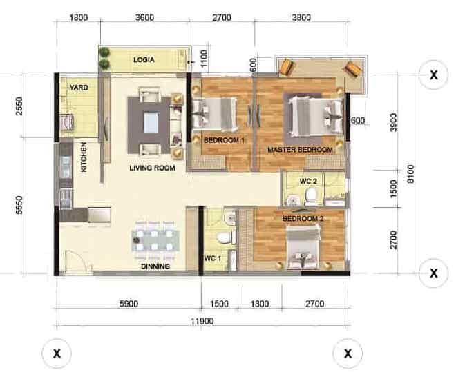 Bán căn hộ Emerald 104 m², tầng 10, 3 phòng ngủ, giá 4,3 tỷ