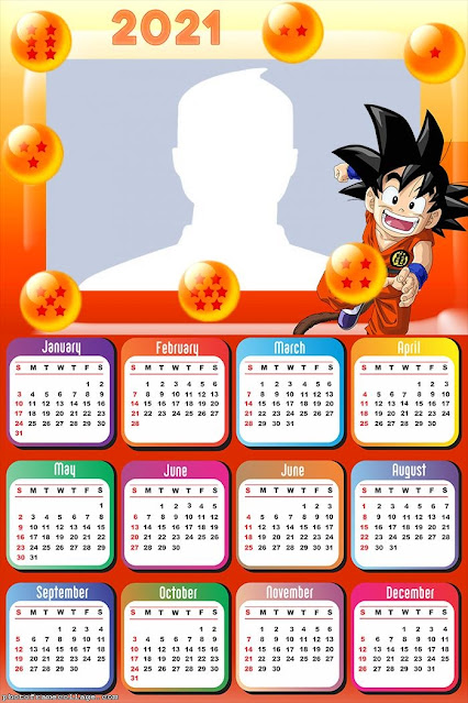 Dragon Ball Z: Calendario 2021 para Imprimir Gratis.