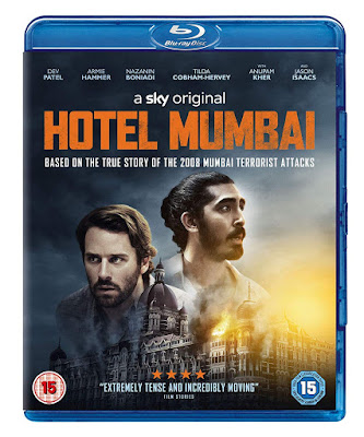 Hotel Mumbai Blu-ray cover showing 2 men's faces