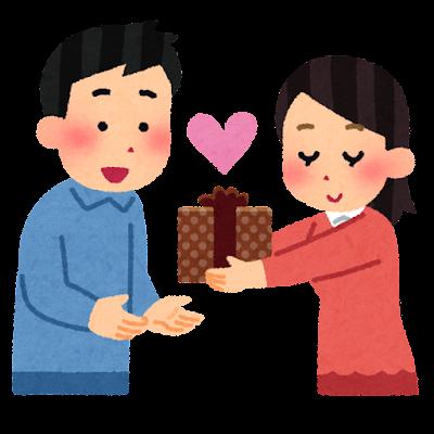 バレンタインにチョコを贈る女性のイラスト