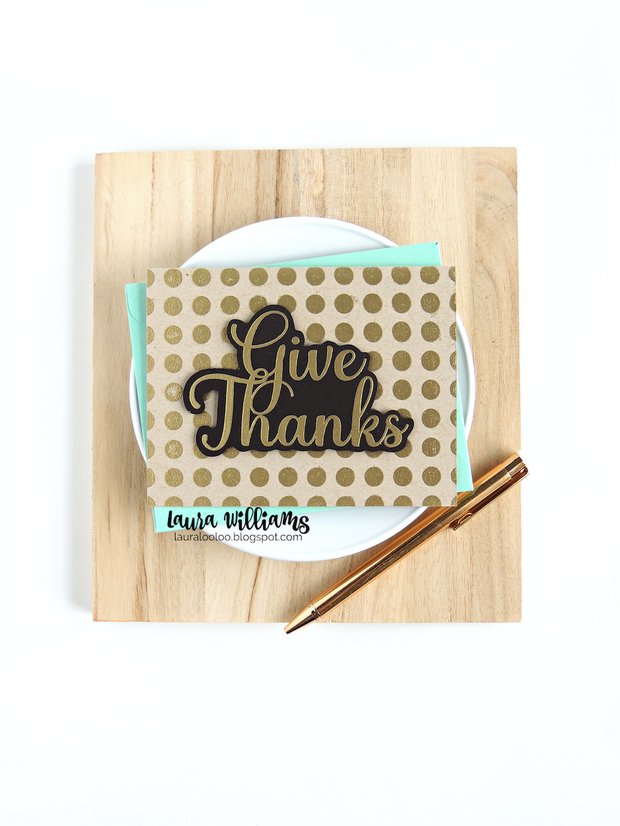 Make a simple and elegant thank you card with gold embossing and a polka dot background. It's gorgeous for fall and the season of Thanksgiving, but you'll use this idea all year long in a variety of colors. Click to see ideas for thank you cards and more with Impression Obsession stamps and dies.
