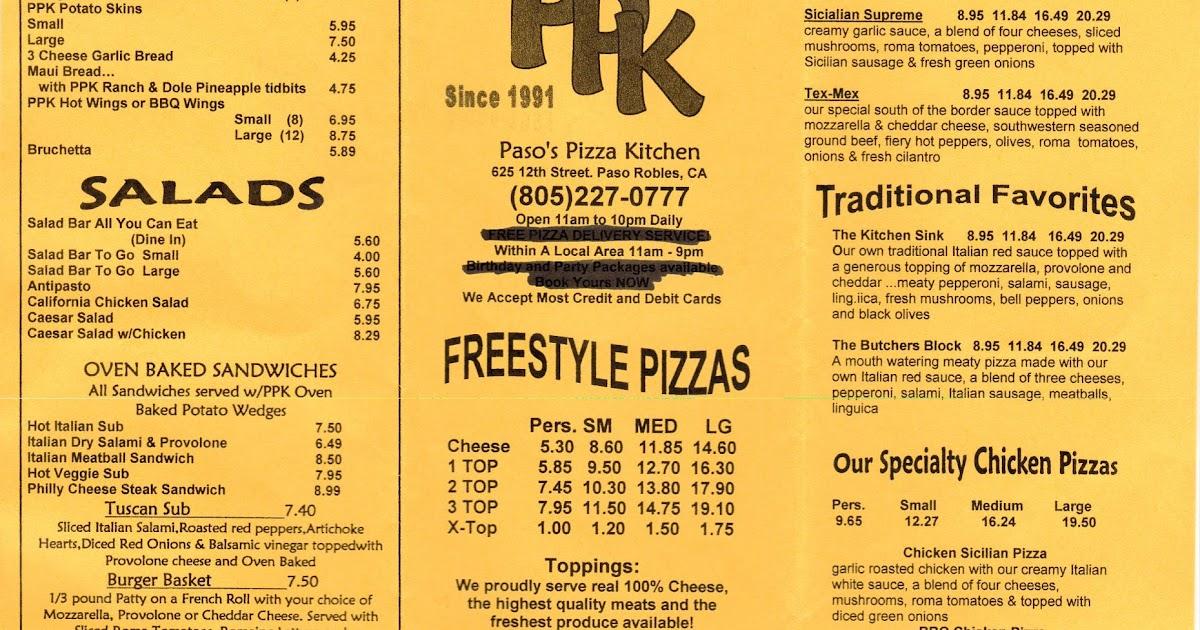 Paso Robles Pizza Kitchen Menu