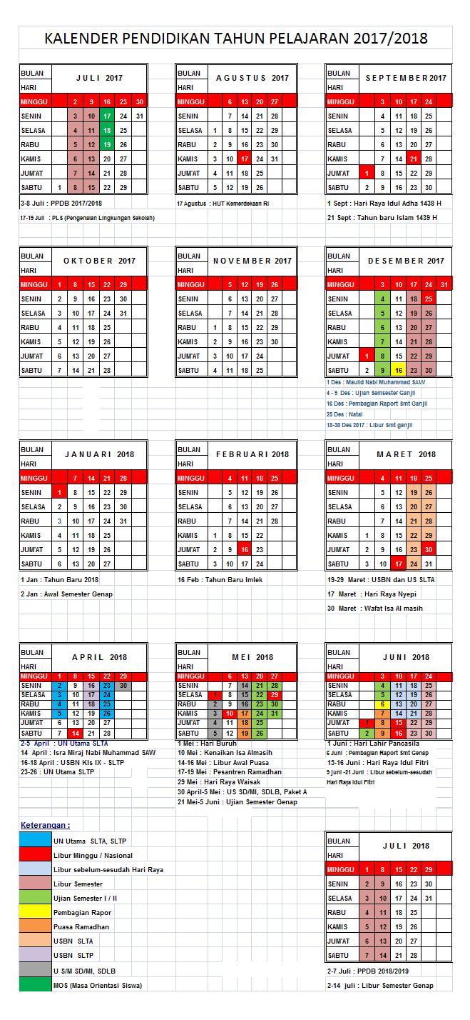 Download Kalender Pendidikan Tahun 2017/2018 untuk SD SMP SMA SMK