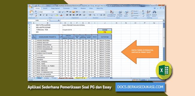 Aplikasi Sederhana Pemeriksaan Soal PG dan Essay dengan Microsoft Excel