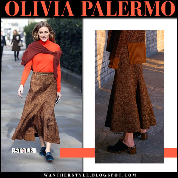 93a4d1642c37 Olivia Palermo in orange turtleneck and brown metallic knit skirt pringle  of scotland lfw street style