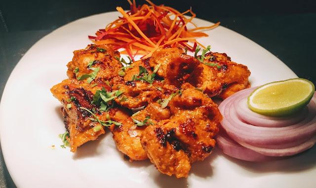 Garnished chicken Tikka for chicken Tikka recipe