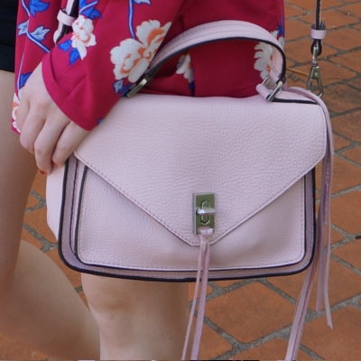 magenta floral kimono with Rebecca Minkoff small Darren messenger bag in peony pink | away from the blue