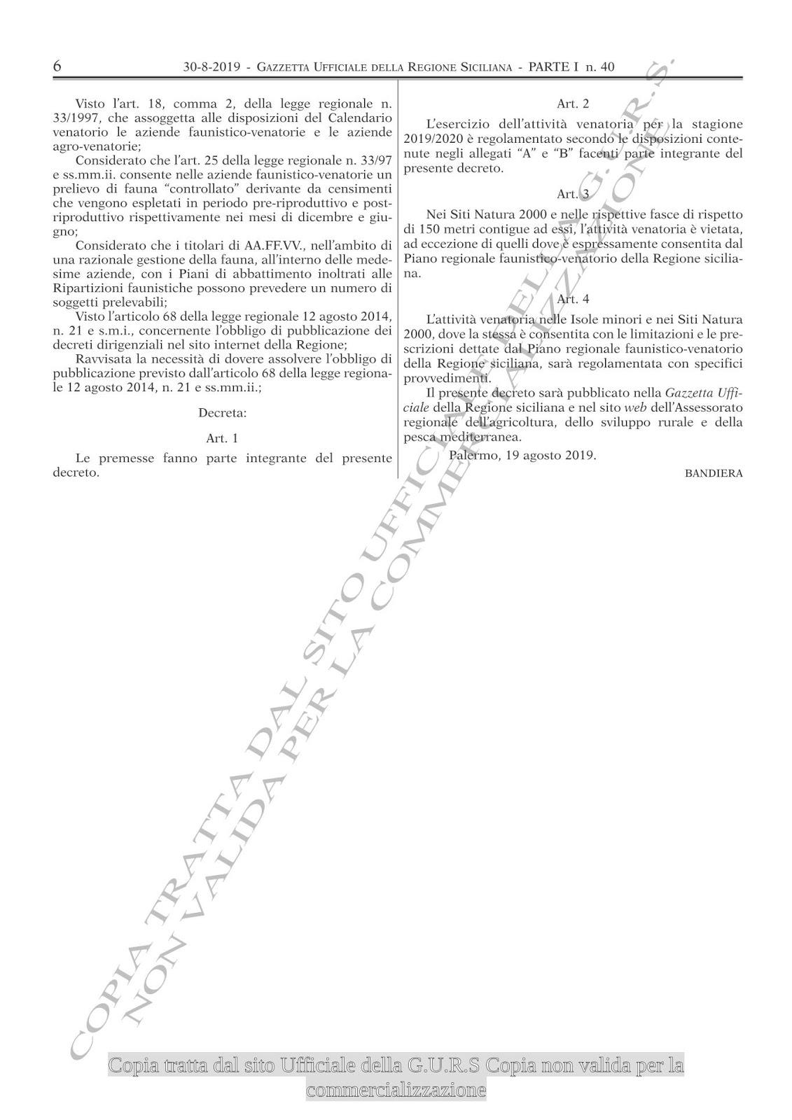 Gazzetta Ufficiale Calendario Venatorio Sicilia.Vigopensiero Agosto 2019