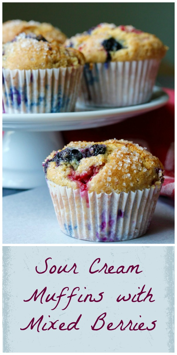 Sour Cream Muffins with Mixed Berries
