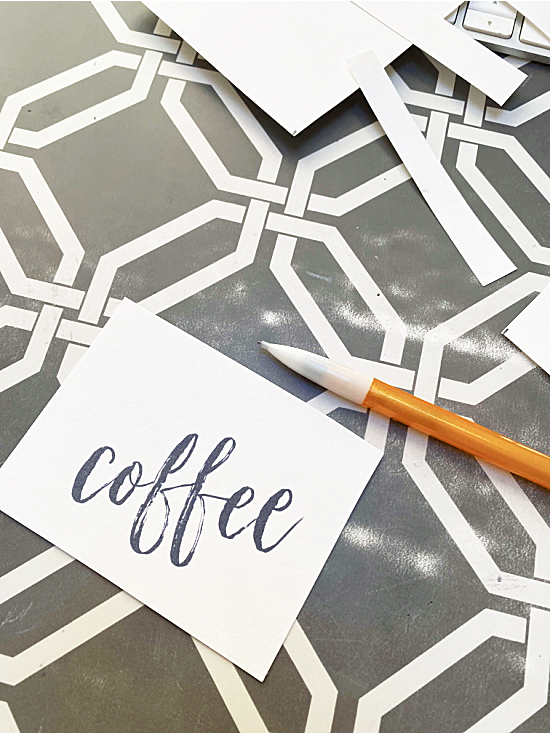 coffee word cut from card stock