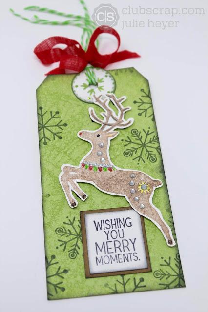 Stipple Misted Scandinavian Holiday Reindeer Tag #clubscrap #stipplemists #ghostedstencil #stencil #mask #reindeer #tags