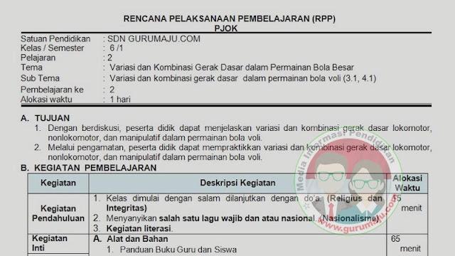 RPP PJOK 1 Lembar Semester 1 SD Kelas 6 Tema 1 K13 Revisi 2021