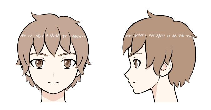 Kepala anak anime shading dari dekat