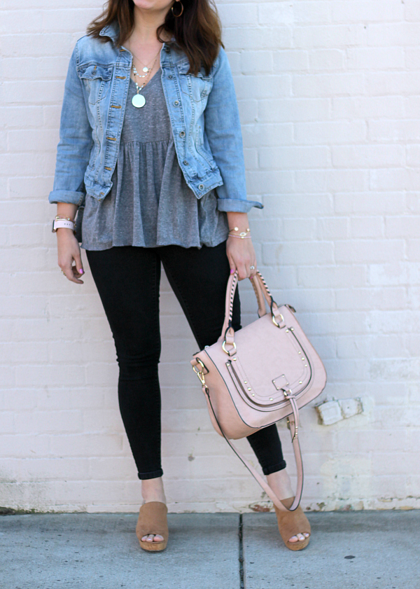 style on a budget, spring style, mom style, north carolina blogger, spring outfit, peplum top