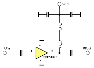 Schematic of the green LNA board based on SPF5189Z