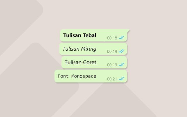 Cara Membuat Tulisan Tebal, Miring dan Coret di WhatsApp