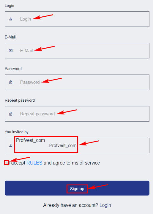 Регистрация в Extorm 2