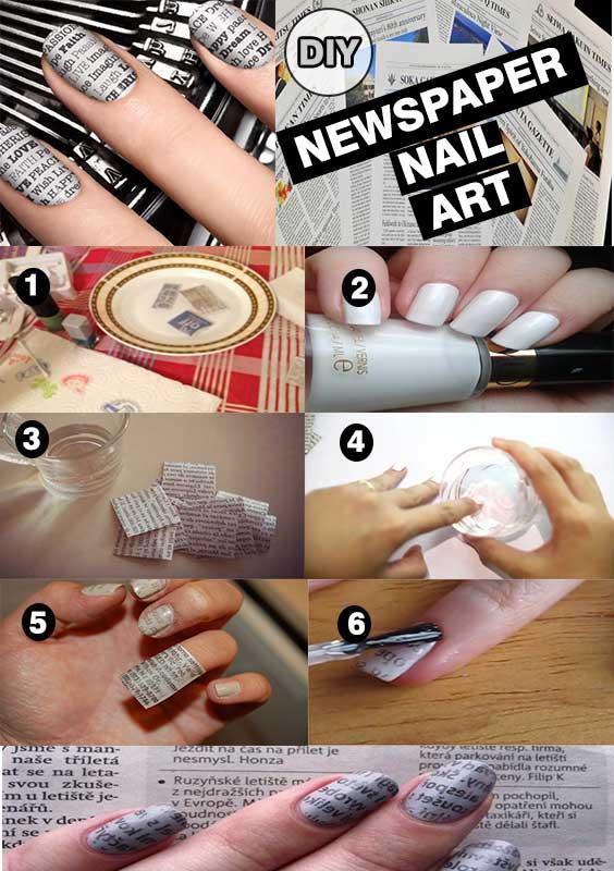 Newspaper nail art,  How To Make Newspaper Nails