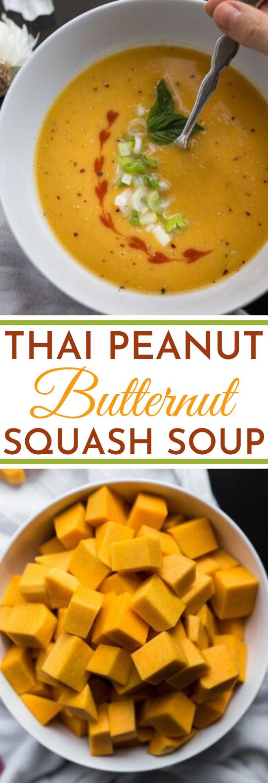 Thai Peanut Butternut Squash Soup #vegetarian #soup #dinner #comfortfood #vegan