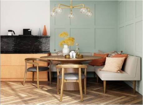A dining room in a small apartment