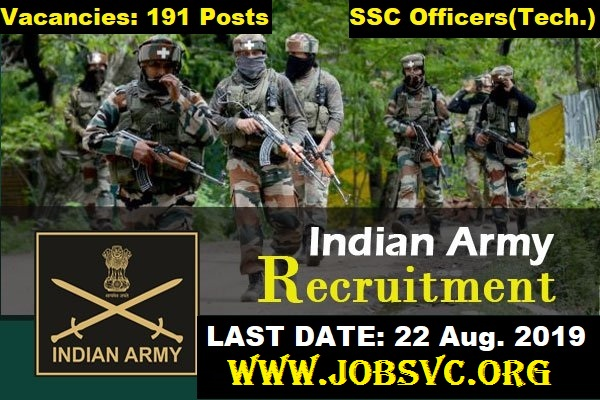 Indian Army SSC Tech Recruitment 2019 - Apply Online for 191 Posts