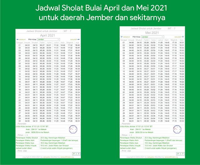 Jadwal Buka Puasa dan Imsakiyah Kabupaten Jember, Jatim