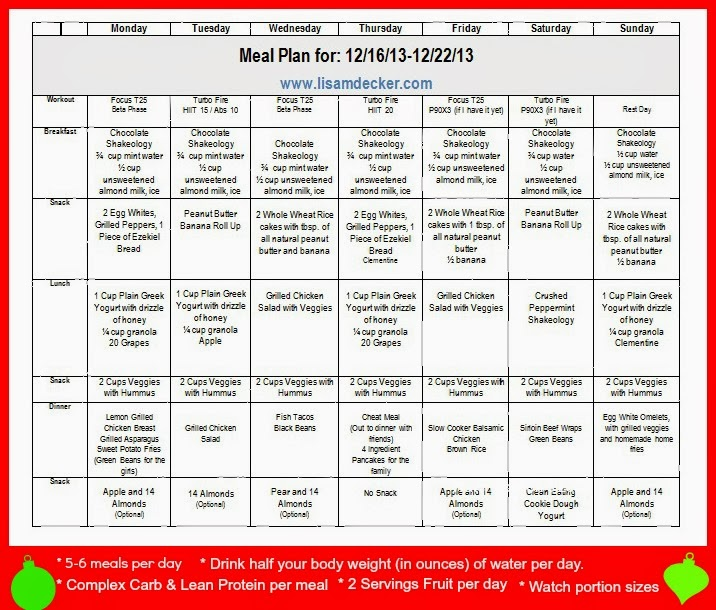Making Healthy Choices the Week Before Christmas! Meal Plan and - weekly healthy meal plan