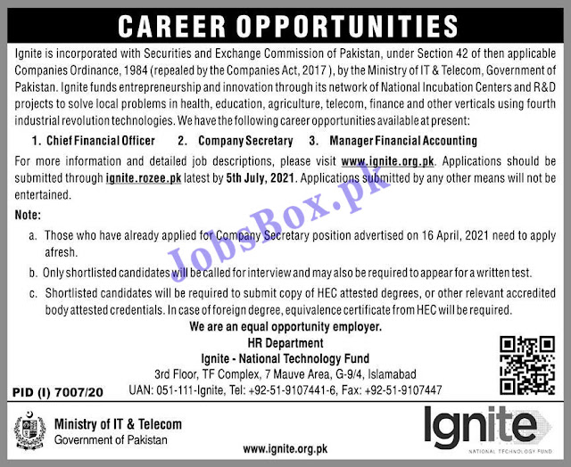 Ministry of IT & Telecom Jobs 2021 – Ignite National Technology Fund Jobs