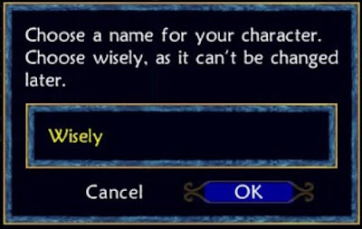 Choose a name for your character. Choose wisely, as it can't be changed later.