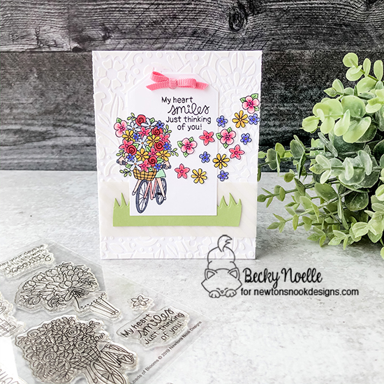 My heart smiles just thinking of you by Becky features Floral Lace, Land Borders, Fancy Edges Tag, Loads of Bloom, Woodland Spring  by Newton's Nook Designs; #newtonsnook