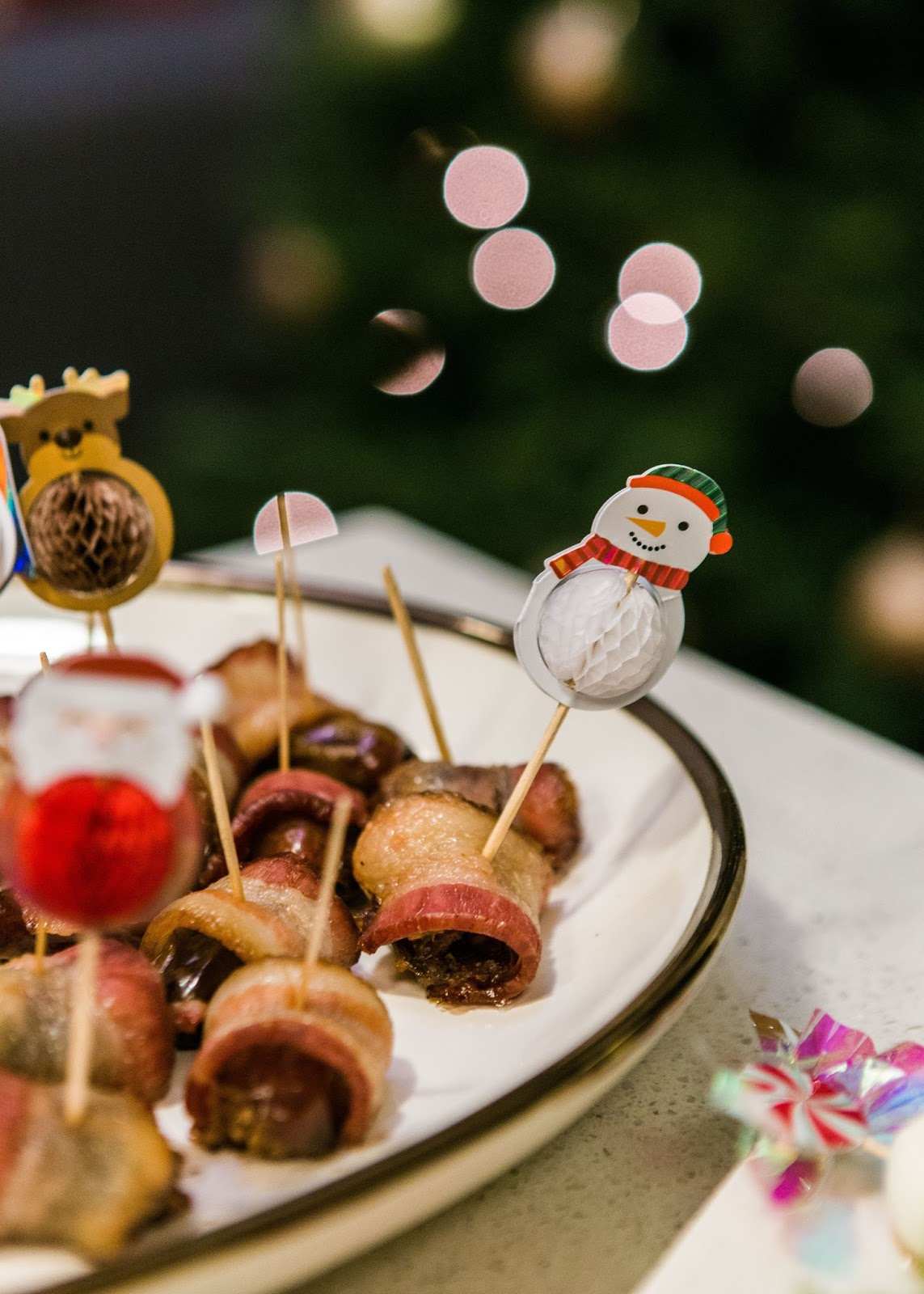 bacon wrapped dates, party appetizers, how to decorate for holiday party