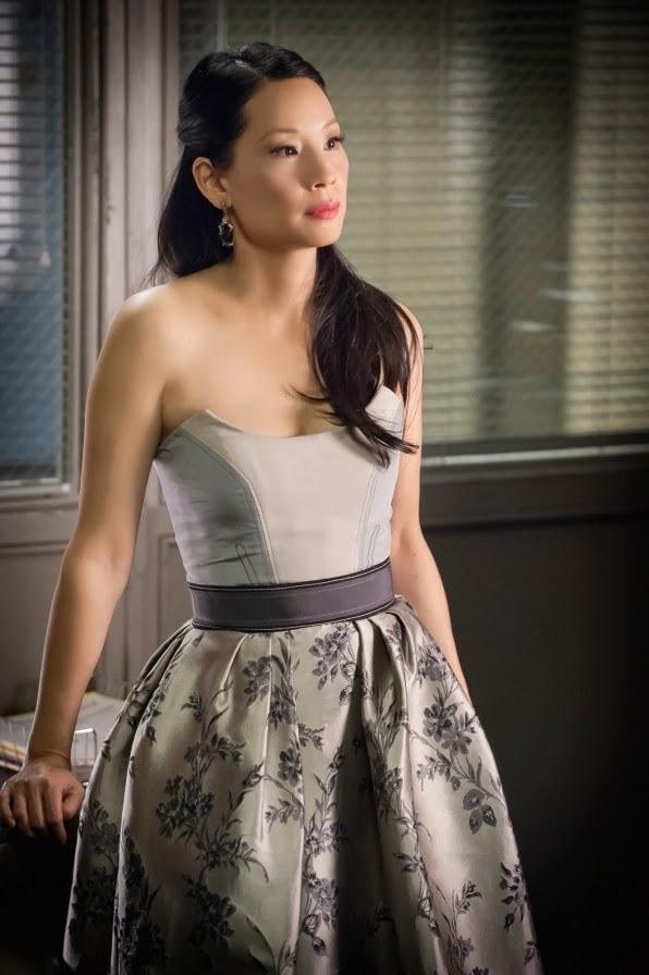 Lucy Liu as Joan Watson in a beautiful dress in CBS Elementary Season 2 Episode 13 All in the Family