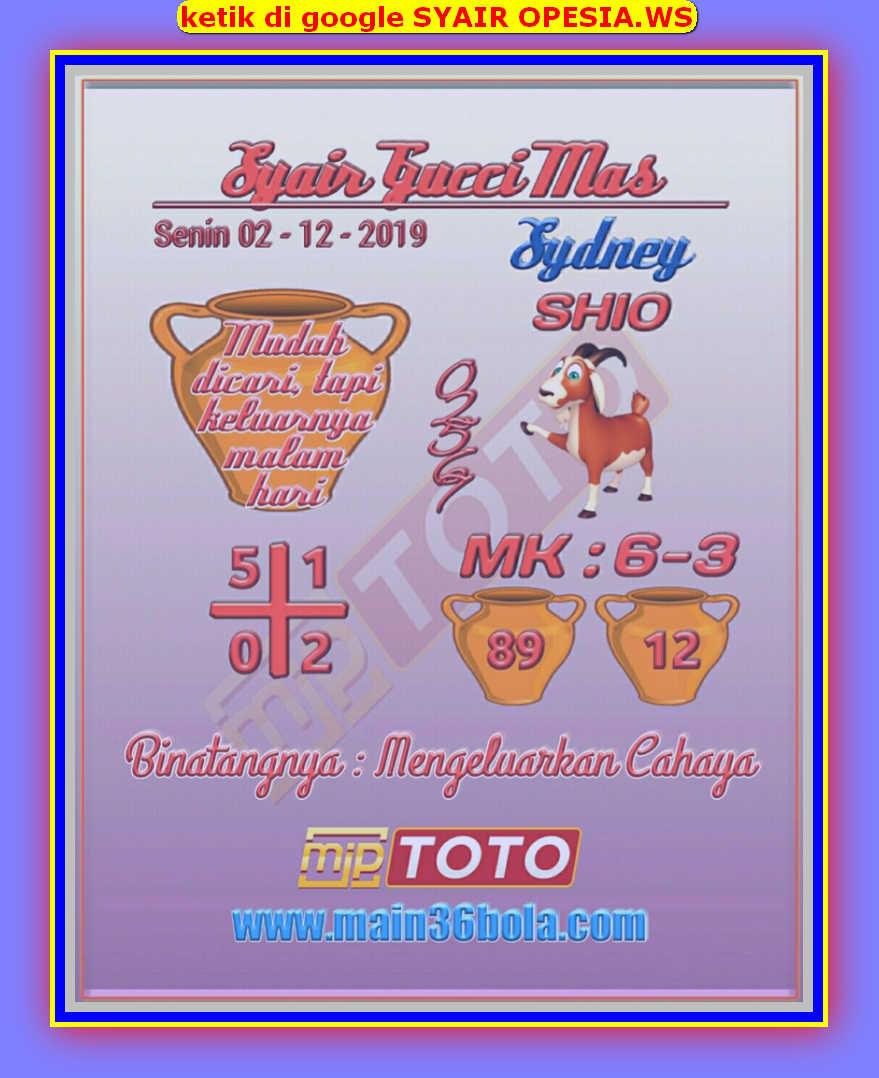 Kode syair Sydney Senin 2 Desember 2019 18