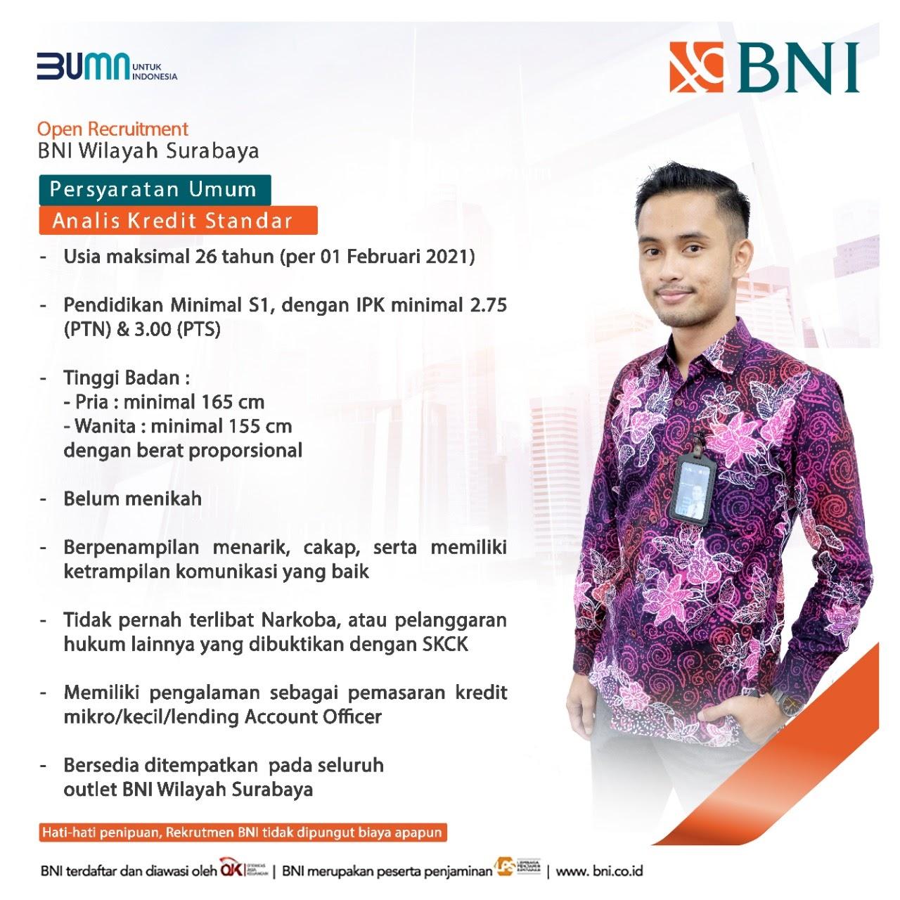 Lowongan Kerja Pegawai Bank Negara Indonesia Tingkat D3 S1 ...